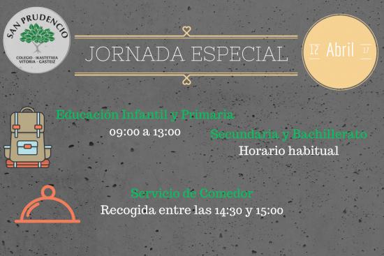 Atención: Jornada Especial 12/04/2017
