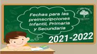 PLAZO PREINSCRIPCIONES PARA INFANTIL, PRIMARIA Y SECUNDARIA